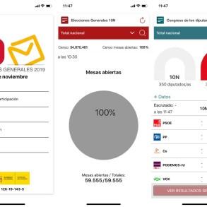Capturas de pantalla de la app de Elecciones Generales 10N para iPhone