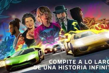 Imagen promocional del juego de carreras Forza Street, donde al estilo de postre de película aparecen varios coches y personajes en la parte de atrás.