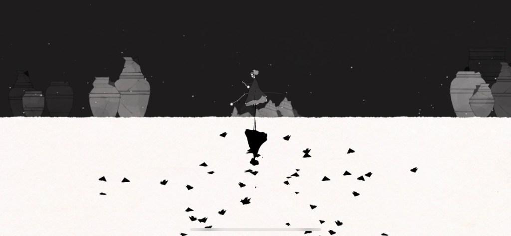 Captura de pantalla del juego GRIS. Se muestra a la protagonista en un escenario partido, encima negro y debajo blanco. En la parte inferior se ve el reflejo de la chica así como varios pájaros.