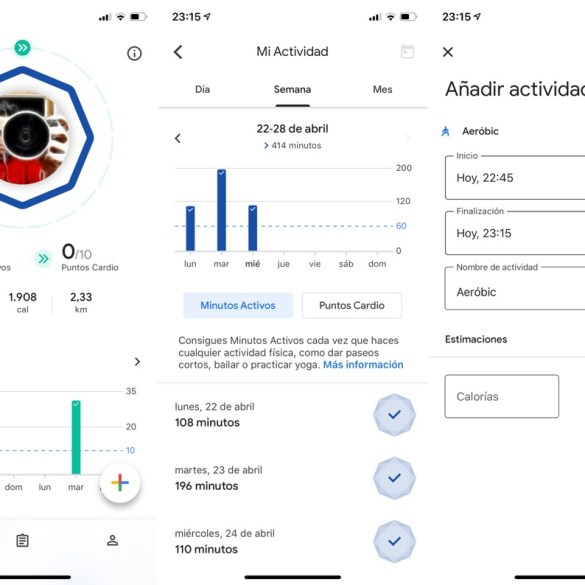 Tres capturas de pantalla de la app Google Fit. Se muestran varios datos de actividad y movimiento diario, así como la interfaz para introducir actividad realizada de forma externa.