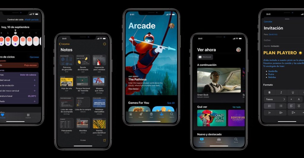 Imagen que muestra varios iPhone con iOS 13 funcionando.