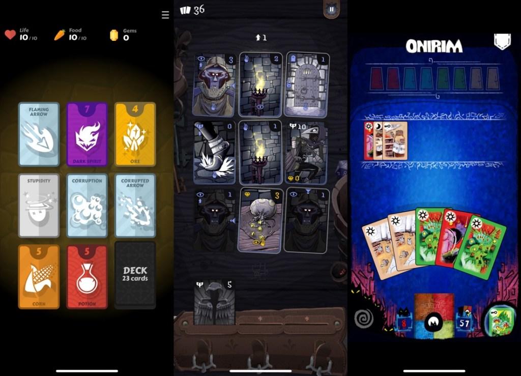 3 capturas de pantalla de varios juegos de cartas para iOS: Mind Cards, Card Thief y Onirim.