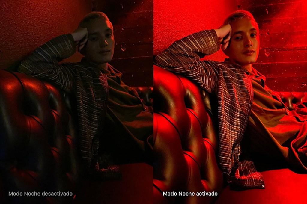 Muestra del nuevo modo noche del iPhone 11, comparando una imagen de un chico con el modo desactivado y otra activado. Chico en sofá con iluminación roja.
