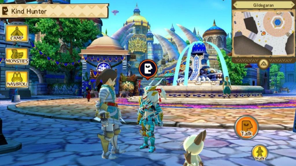Captura de pantalla del juego Monster Hunter Stories. Se puede ver una tranquila escena donde el protagonista habla con otro personaje en una ciudad. De fondo se ven varias estructuras de estilo fantástico, una fuente y varios personajes haciendo sus vidas alrededor.