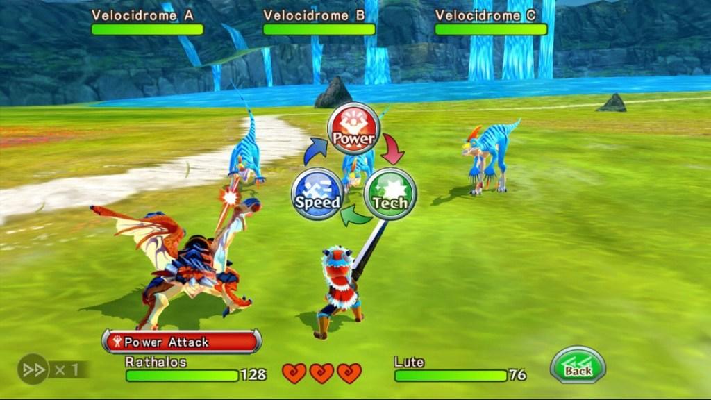 Captura de pantalla de Monster Hunter Stories. Se muestra un combate en un prado verde con un lago con cascadas al fondo. El protagonista se enfrenta a tres monstruos de aspecto de velociraptor junto a una especie de dragón y una gran espada.