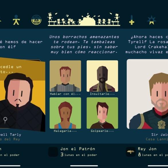Tres capturas de pantalla del juego de elecciones Reigns: Game of Thrones, con varios personajes y textos que nos cuentan la historia.