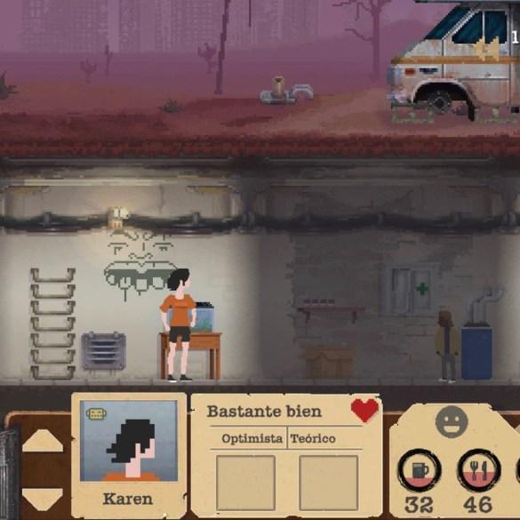 """Captura de pantalla del juego de supervivencia """"Sheltered"""". Protagonistas en un búnker bajo tierra."""