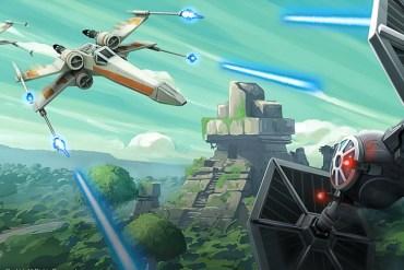 Ilustración de Star Wars. Se ve una nave X-Wing disparando a un Tie Fighter. De fondo se muestran montañas y bosques.
