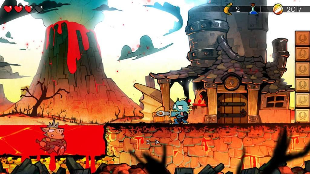 Captura de pantalla del juego Wonder Boy: The Dragon's Trap. Se muestra al protagonista en forma de lagarto, espada en mano, en un escenario volcánico con un rio de lava y un enemigo dentro.