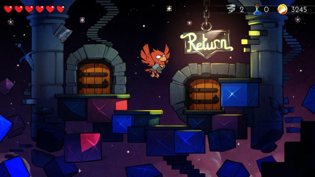 Captura de pantalla del juego Wonder Boy: The Dragon's Trap. Se muestra al protagonista en forma de pájaro rojo volando a través de un escenario con puertas de madera.