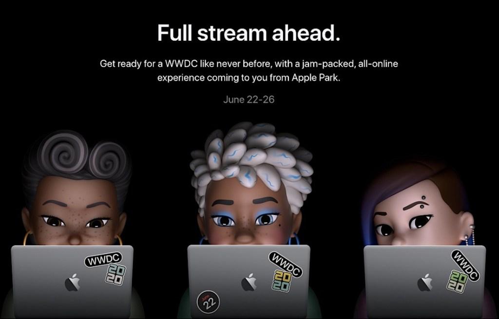 Imagen promocional de la WWDC 20 con la cabecera: Full stream ahead y varias personajes memoji mirando sus macbooks