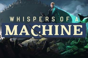 """Imagen promocional de """"Whispers of a Machine"""", con el logo en primer plano y la protagonista sobre un montón de chatarra. Un pájaro se posa sobre un trozo de chatarra."""