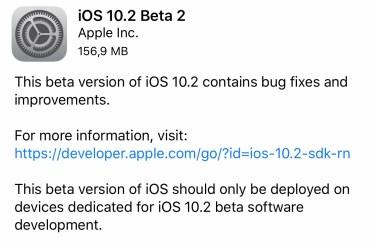 iOS 10.2 beta 2