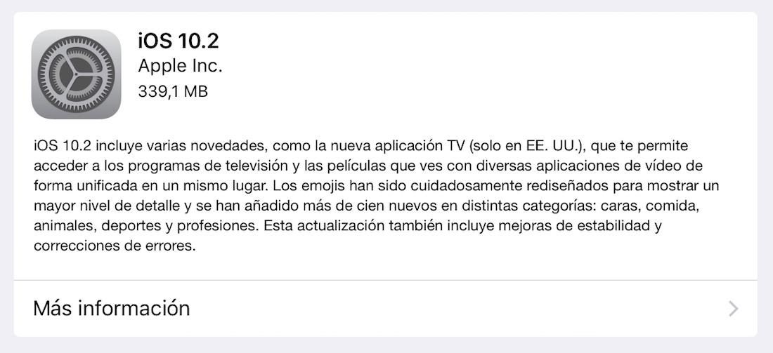 iOS 10.2 iPhone, iPod Touch, iPad