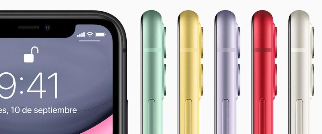 Detalle del iPhone 11, mostrando la pantalla del modelo negro y el lateral de los otros 5 colores disponibles.