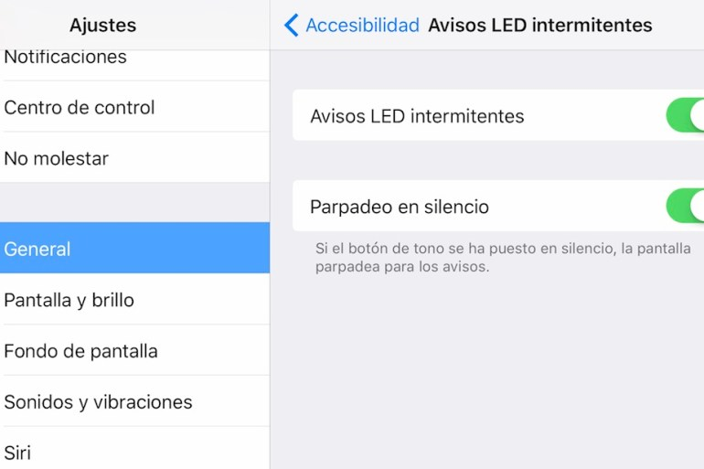 LED para notificaciones parpadeo