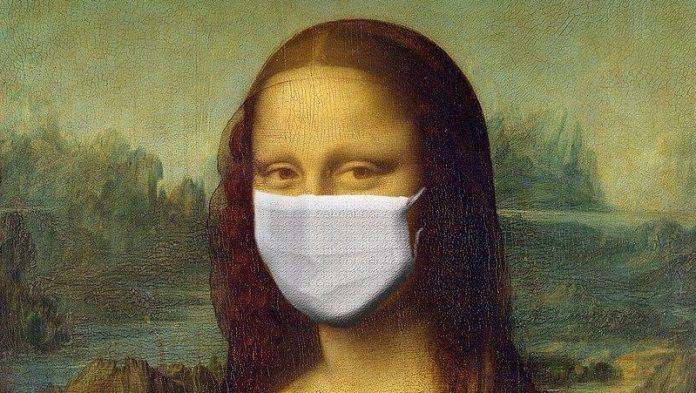 imagen de La Monalisa con mascarillas quirúrgicas