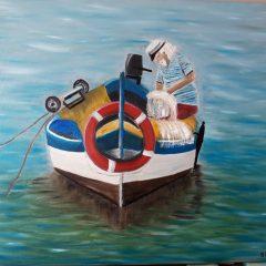 Pescador en el mar cuadro