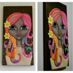 Handmade carved wood painting «Woman in bloom»