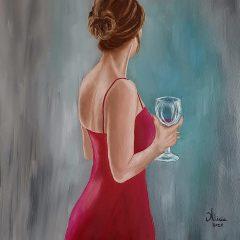 La mujer con la copa de vino