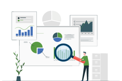 ESG Rating and report and a person with magnifying glass (vector)