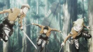 Screenshot of Jean, Annie, and another soldier in the anime Shingeki No Kyojin