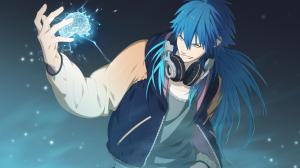 Picture of Aoba playing Rhyme where he is known as Sly Blue with a brain in his hand smiling cause he's about  to destroy it