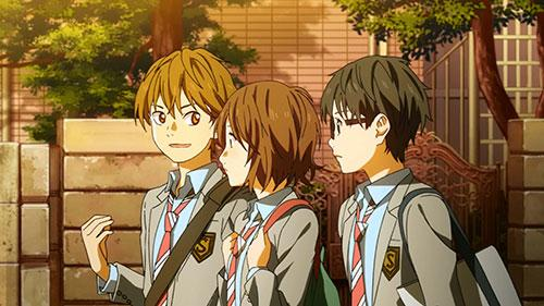 Shigatsu wa Kimi no Uso screenshot of Tsubaki, Kousei, and Sumiya walking  in Episode 1