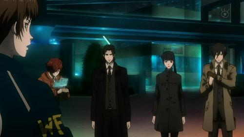 Psycho Pass 2 screenshot of Inspector Tsunemori and the Enforcers in Episode 1