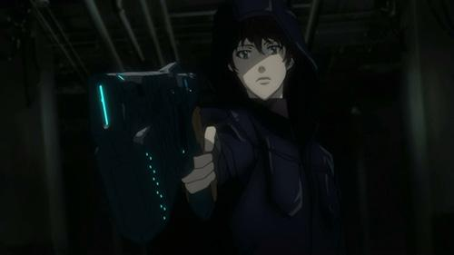 Screenshot of Kamui aiming a dominator at an inspector in the anime Psycho Pass 2 Episode 6