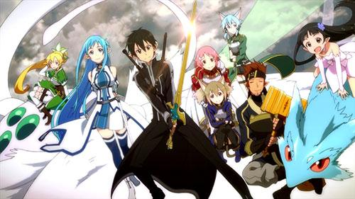 A picture of the whole main cast as their video game selves from this past arc in Sword Art Online 2 Episode 17
