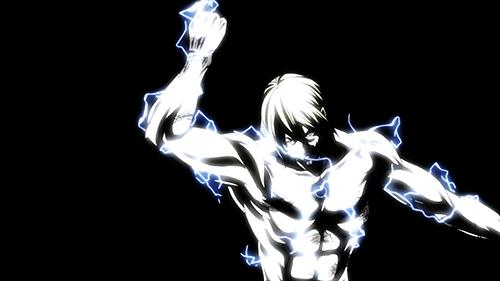 Screenshot of Adolf with lighting all over his body in the anime TerraFormars Episode 8