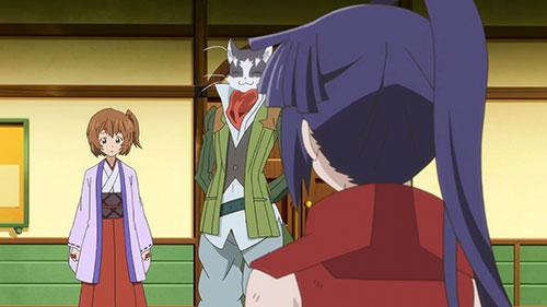 Minori and Akatsuki having a stare down in Log Horizon Season 2 Episode 13