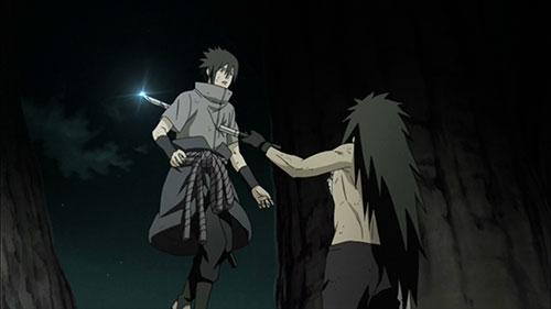 Sasuke gets a sword in the chest from Madara in Naruto Shippuuden Episode 393