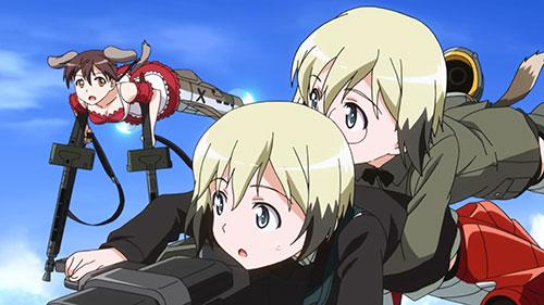 Barkhorn Hartmann and Ursula flying in Strike Witches OVA Episode 1