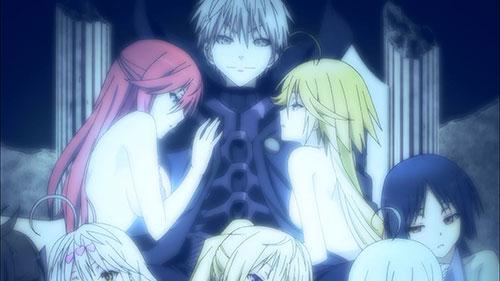Arata and the Trinity Seven seen through the eyes of Hijiri in Trinity Seven Episode 12