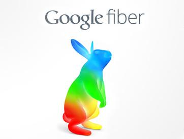 Logo for Google Fiber is a multicolored bunny