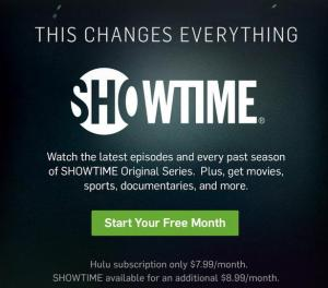 Screenshot of Hulu Prices from their website front page