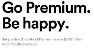 Screenshot of Spotify Price from their website front page