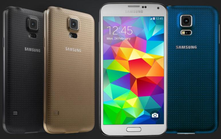 Picture of the Samsung Galaxy S5 all it's colors