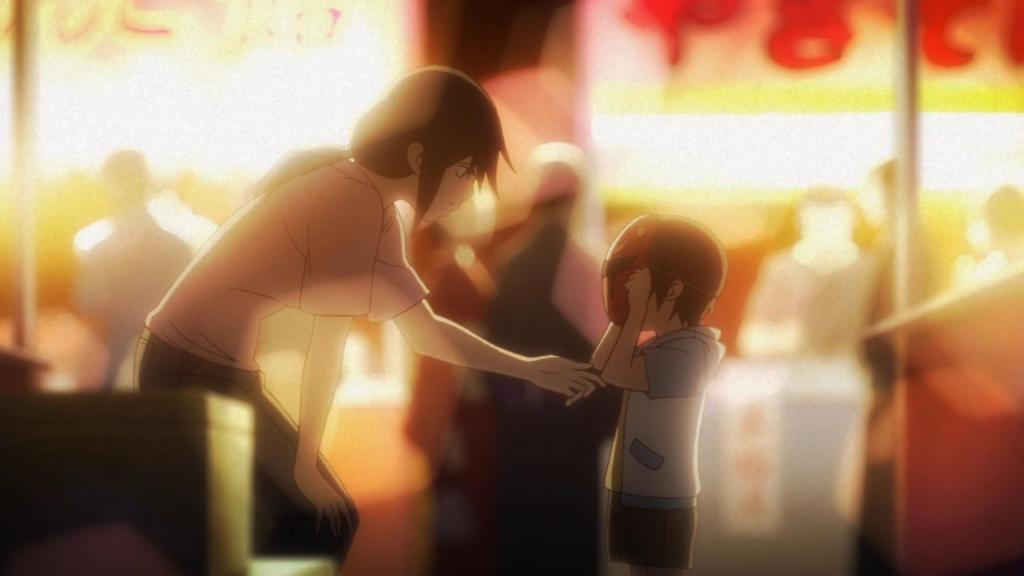 Little Satoru and his mother at a carnival in Boku Dake Ga Inai Machi