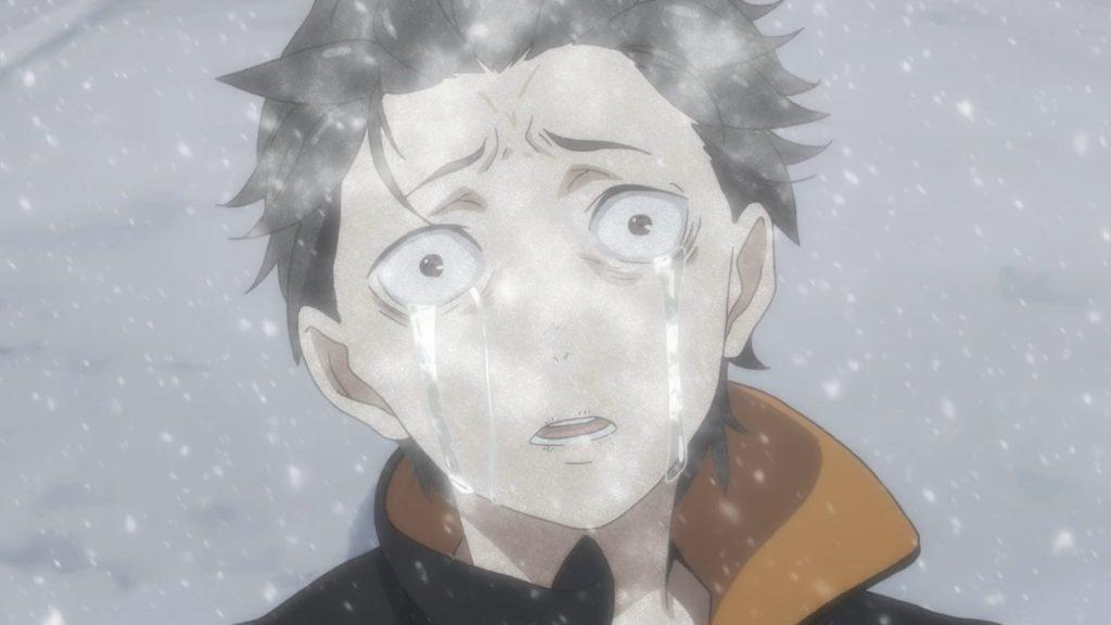 Screenshot of Subaru crying as he's being frozen to death in Re:Zero kara Hajimeru Isekai Seikatsu