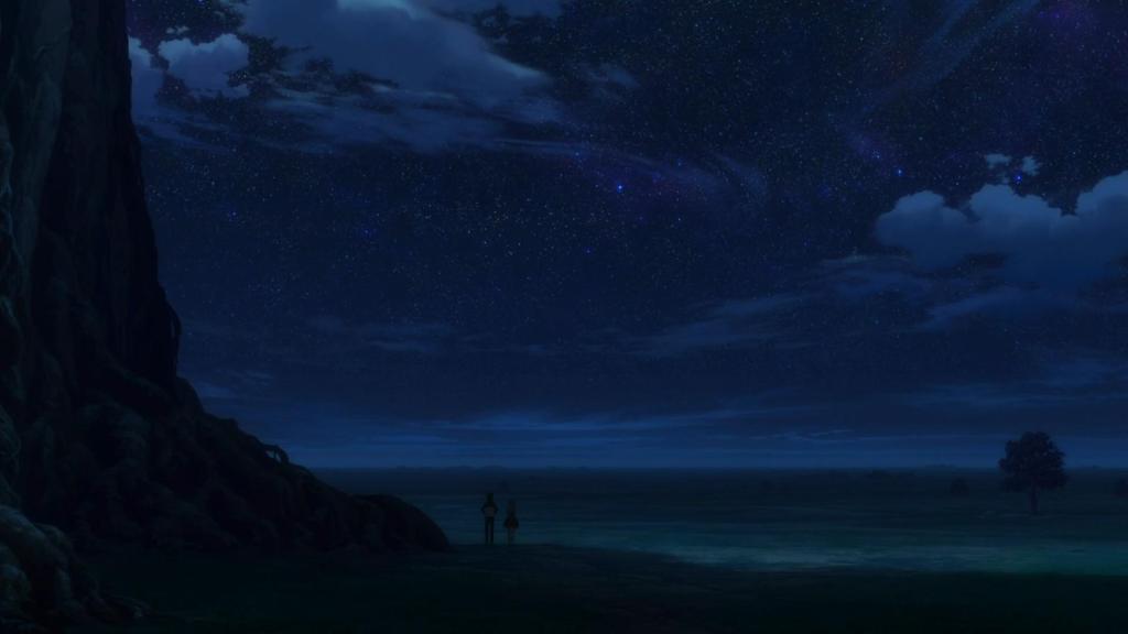 Screenshot of Rem and Subaru under the big tree in Re:Zero kara Hajimeru Isekai Seikatsu
