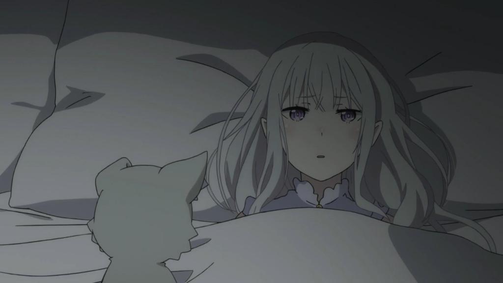 Screenshot of Emilia waking up worried in Re:Zero kara Hajimeru Isekai Seikatsu