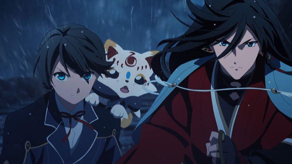 Kane, Kunihiro, and the little fox Konnosuke chasing the enemy on horse back in the rain in the anime Katsugeki Touken Ranbu