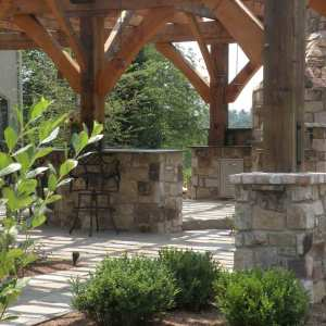 Stone and Wood Beam Patio in Lancaster, PA Eshelman Mill Gardens and Landscapes