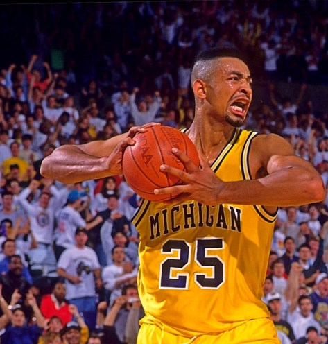 College Basketball: Michigan Juwan Howard (25) in aciton vs Duke at Crisler Arena. Ann Arbor, MI 12/14/1991 CREDIT: Manny Millan (Photo by Manny Millan /Sports Illustrated/Getty Images) (Set Number: X42274 TK1 R3 F13 )