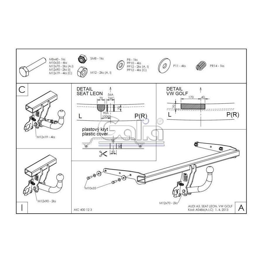 Tažné zařízení Audi A3 HB 2012- (8V), odnímatelný bajonet