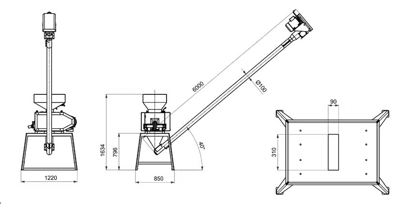 SCR-MMR-300 Screw conveyor for the MMR-300 Malt mill