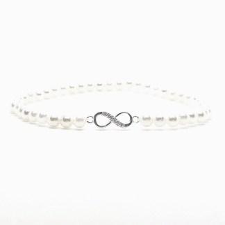 Náramek perly 4mm s nekonečnem ve stříbrné barvě s kubickými zirkony